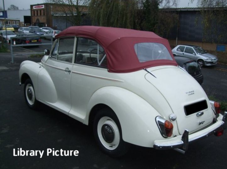 Old English White Replica Convertible with Red Interior Trim