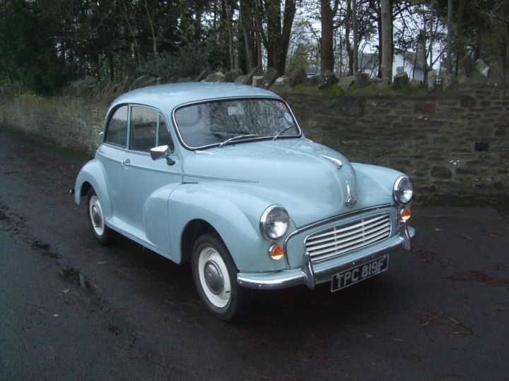 1968 SMOKE GREY 2 DOOR SALOON, LIGHT BLUE TRIM.