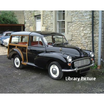 Black Morris Minor Traveller 5
