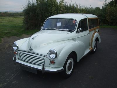 Snowberry White Morris Minor Traveller